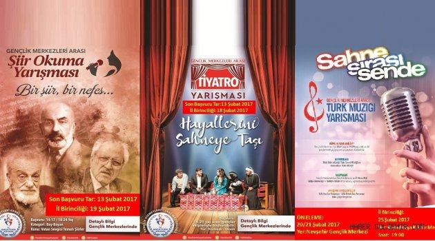 Gençlik Merkezleri Arası Kültür ve Sanat Yarışmaları düzenlenecek.