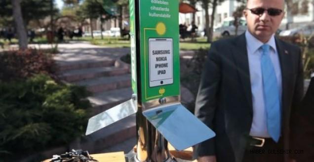 Nevşehirde Bir İlk...! Cep telefonu şarj istasyonu hizmette