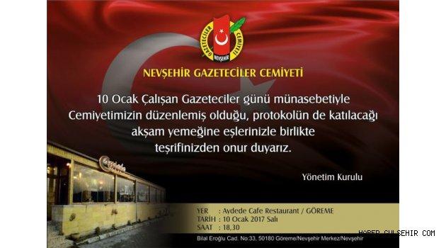 Nevşehir Gazeteciler Cemiyeti, 10 Ocak'ta Birlik mesajı verecek.