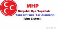 MHP Gülşehir İlçe Teşkilatı Yönetimi'nde Yer Alanların İsim Listesi.