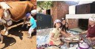 Tatilci çocuklara köy hayatı