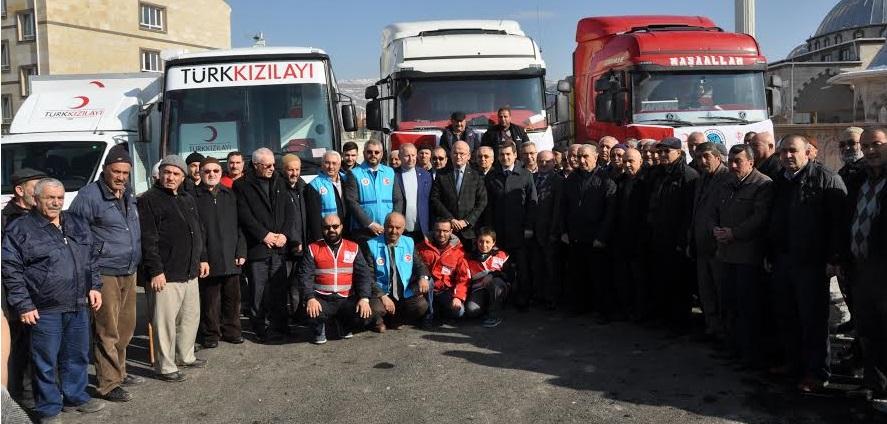 Ürgüp'ten Halep'e giden yardım tırları dualarla uğurlandı