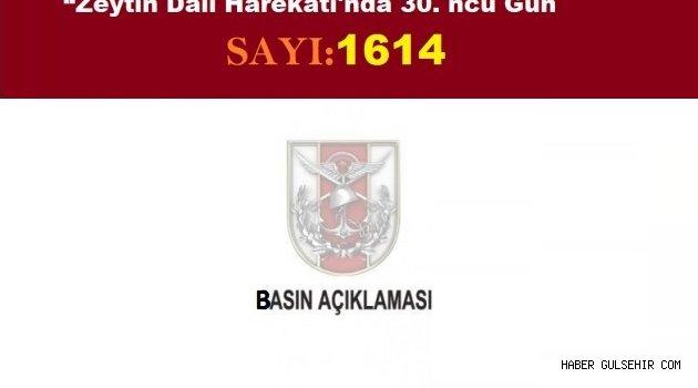 """""""Zeytin Dalı Harekâtı'nın 30. ncu Gününde 19 Terörist Daha Etkisiz Hale Getirildi."""